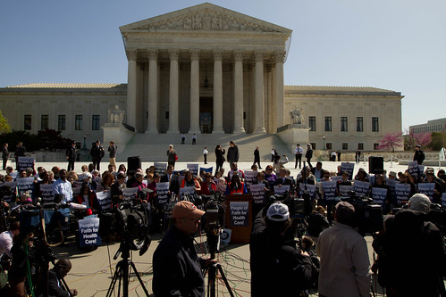 Steps of Supreme Court during healthcare arguments