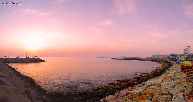 sun set panoramic photograph