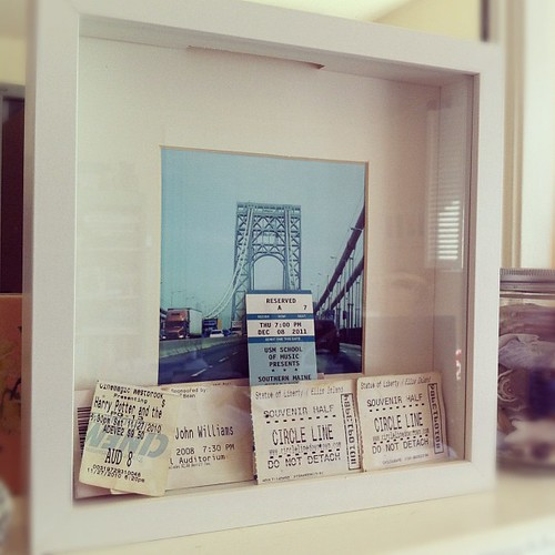 we assembled a ticket stub souvenir shadow box w/ drop slot at top for more #pinterestWIN #creativity #cornerofmyhome #collections #travel #souvenirs