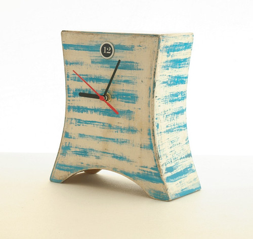 desk clock MARINA - blue stripes by Artma Studio (Etsy)