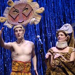 """Sprains and sore muscles plague the cast of """"The Lion King"""" (Nick Verina and Janet Dickinson) in """"Forbidden Broadway,"""" presented by the Huntington Theatre Company through at the Calderwood Pavilion at the Boston Center for the Arts. Part of the 2005-2006 season. Photo by Eric Antoniou."""