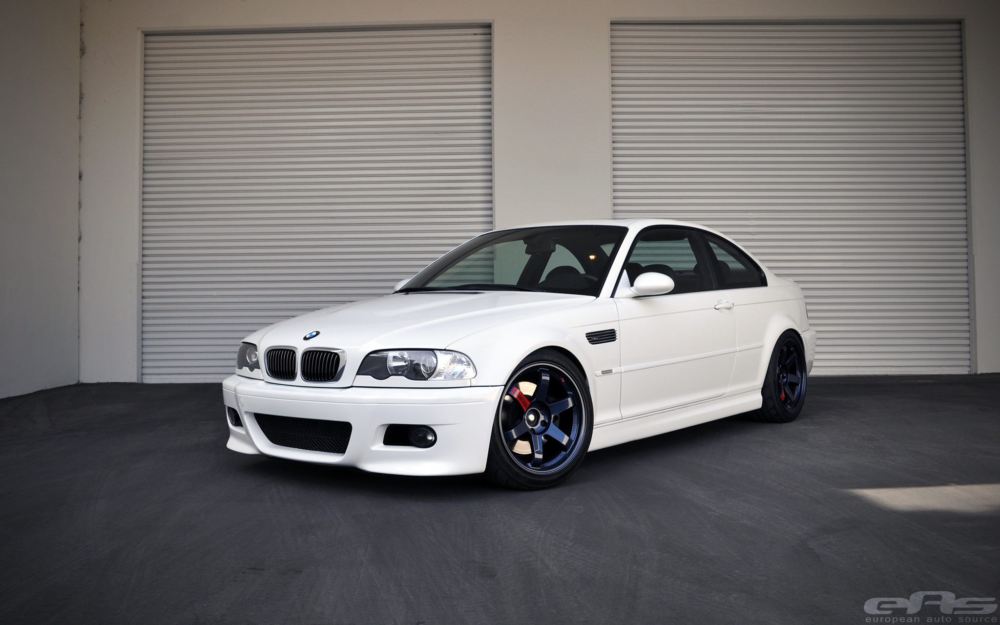 Clean White E46 M3 On Magnesium Blue Volk Te37sl Wheels