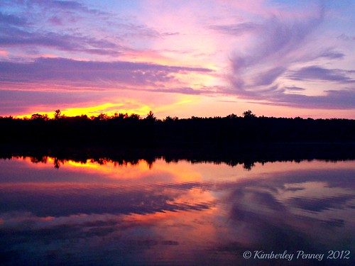 pink sunset sky orange lake reflection water colors clouds purple