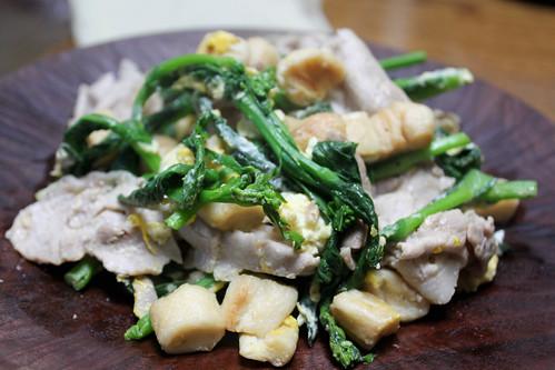 菜の花豚肉麩炒め-3