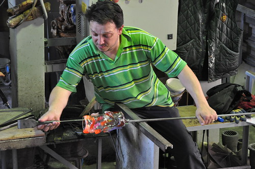Murano glass blower at work
