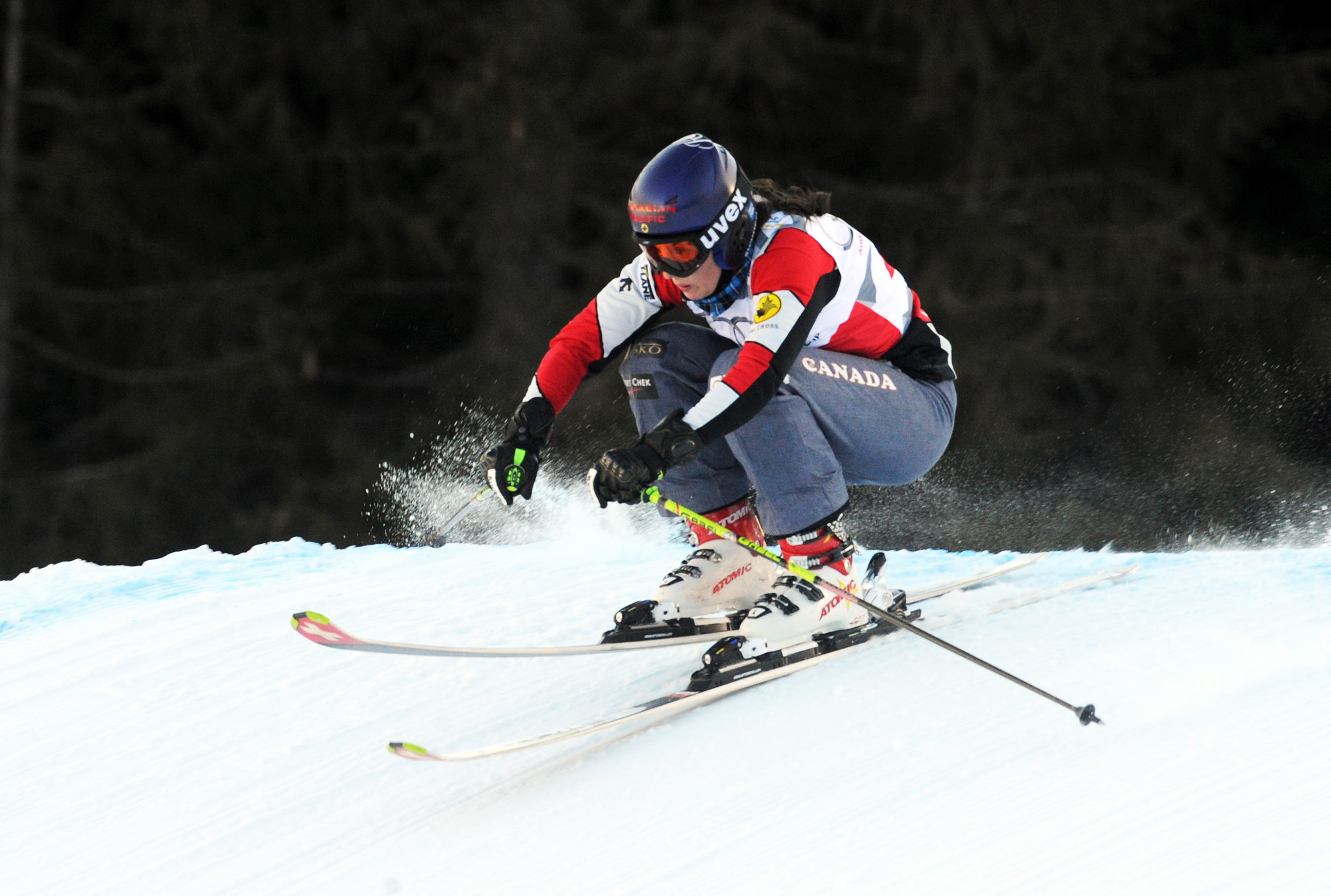 Kelsey Serwa in a qualifying run at the ski cross World Cup in Innichen/San Candido, Italy.