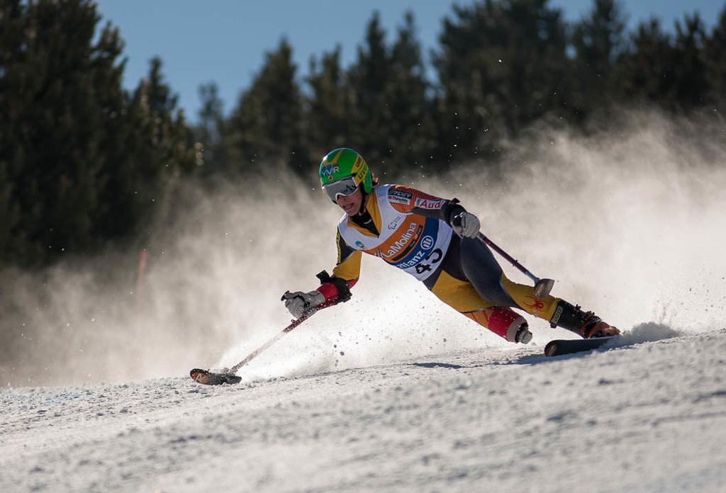 Braydon Luscombe during downhill training at the 2013 para-alpine world championships in La Molina, Spain.