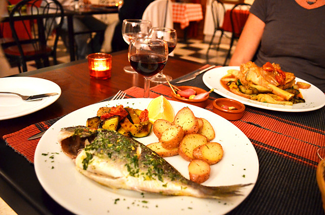 Bream and Lamb, Le Bistro de Pierrerue, Pierreue, Provence, France