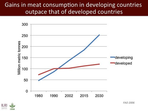 Gains in meat consunmption in developing countries outpace those of developed countries