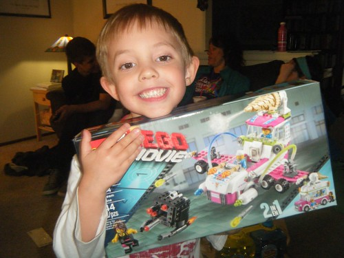 Very happy about his Lego movie set