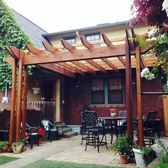 backyard, outdoor structure, property, pergola, porch, cottage, patio, real estate,