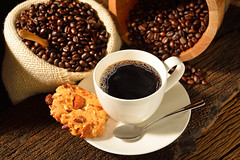 Coffee cup with a cookie and fresh coffee beans