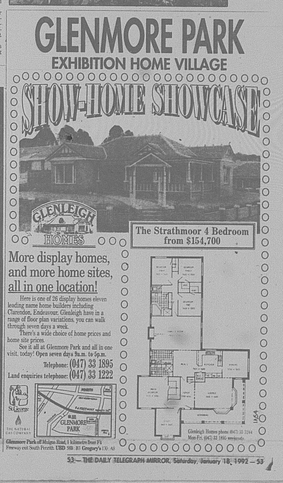Glenmore Park Model Homes Ad January 18 1992 Daily Telegraph 53