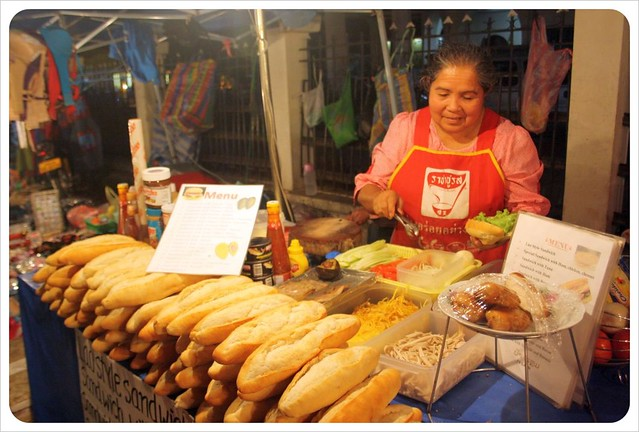 luang prabang night market baguette lady