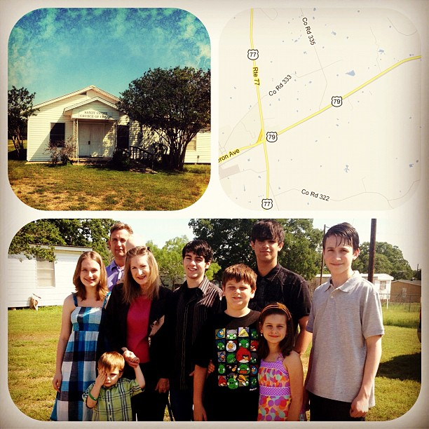 Easter Sunday, small town church with cousins