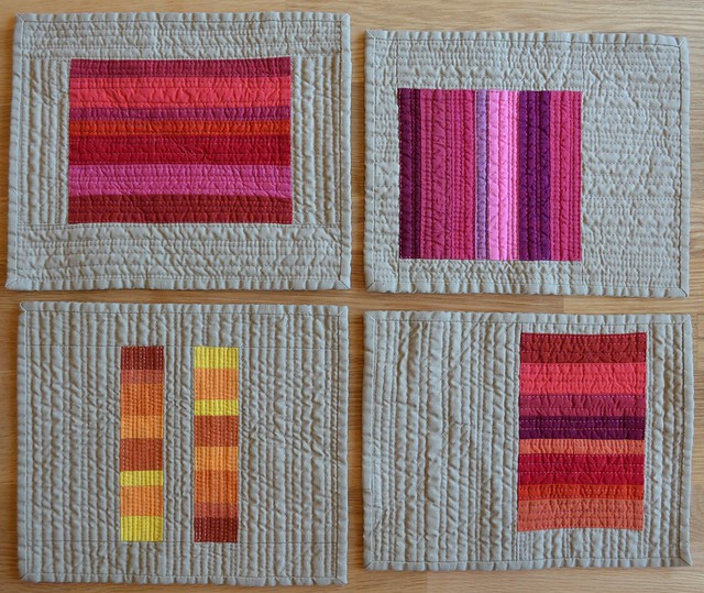 Crimson, Pink, Blood Orange and Saffron - Red inspired mini quilts