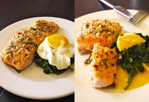 Healthy diet, Baked Salmon spinach and sunny side egg
