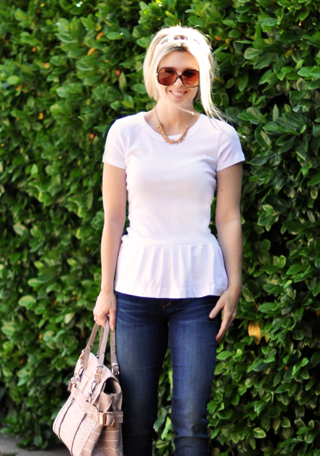 Peplum t- shirt DIY  with jeans and Kooba bag
