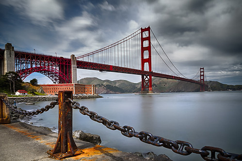 ocean sanfrancisco california longexposure bridge sky usa cloud seascape art rock landscape concrete golden bay gate iron unitedstates suspension chain goldengatebridge sausalito presidio marinheadlands fortbaker outstandingromanianphotographers leebigstopper rustcables