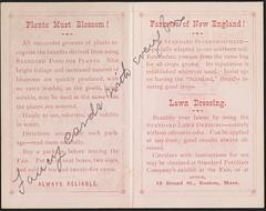 1884 - Standard Fertilizer Company's Food for Plants. (inside)