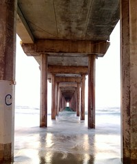 Beneath the Scripps Pier, past sunset