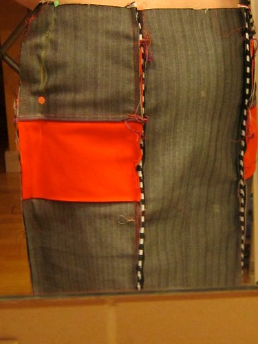 Hummingbird Orange: Pinning the side seams to customize fit