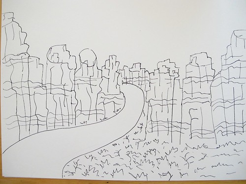Smith Rock Line Drawing
