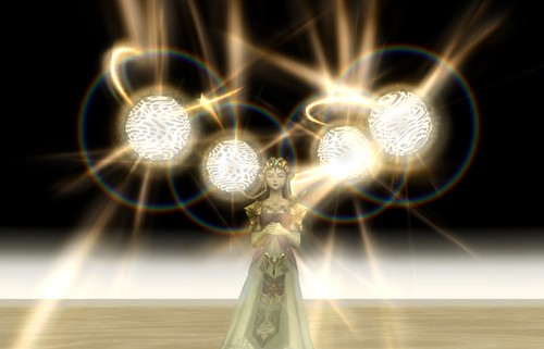 Zelda summons the Light Spirits in Twilight Princess.