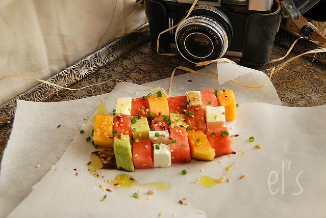 Salade composée d'été à la pastèque et feta