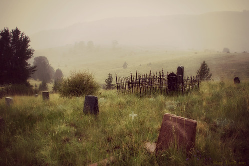 summer cemetery rain fog canon landscape colorado headstone victor 7d coloradosprings 28300mm metherit
