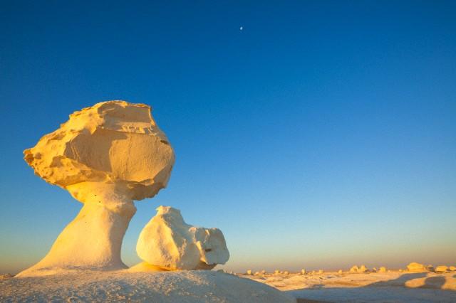 白砂漠にあるキノコのような形の岩の風景
