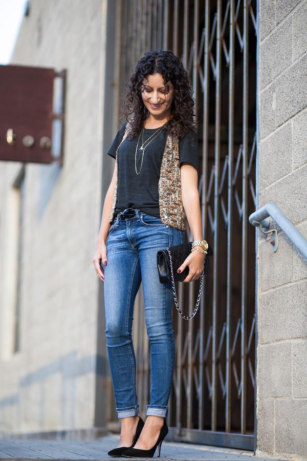 zara diamante waistcoat, rag and bone jeans, Los Angeles fashion blogger, petite