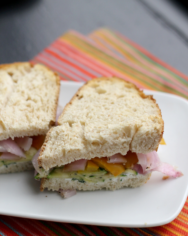 Roasted Zucchini, Pepper, Onion and Goat Cheese Sandwiches | Joanne ...