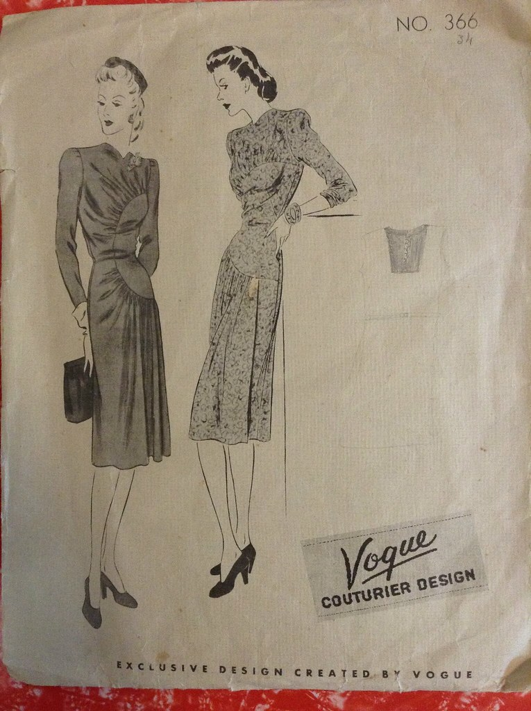 vogue couturier sewing pattern 366 1940s