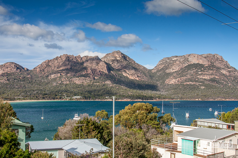 Viewing 'The Hazards' (from L to R) Mt Dove, Mt Amos and Mt Mayson, from Coles Bay.