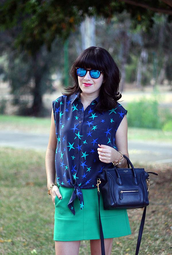 בלוג אופנה, תיק סלין, סנדלים פראדה, celine bag, equipment star blouse, spektre sunglasses