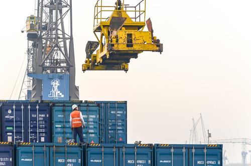 Container crane at work