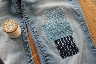 sashiko stitch and patch | by my little red suitcase
