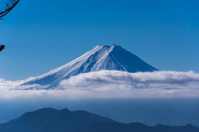 富士山のアップ@牛奥ノ雁ヶ腹摺山