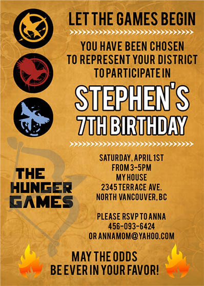 hunger games- custom birthday invitation