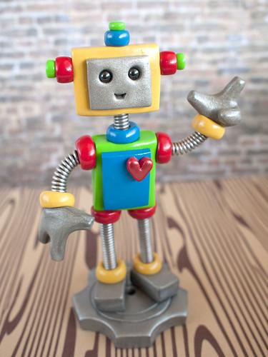 Commission 1st Birthday Robot Cake Topper by HerArtSheLoves
