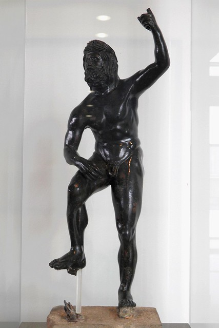 Bronze statuette of Poseidon, hellenistic copy of a well know type, the model of which (in the Lateran museum) is attributed to Lysippos, Archaeological Museum, Pella