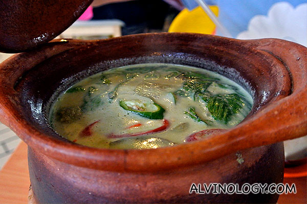 Simmering pot of green curry with pork