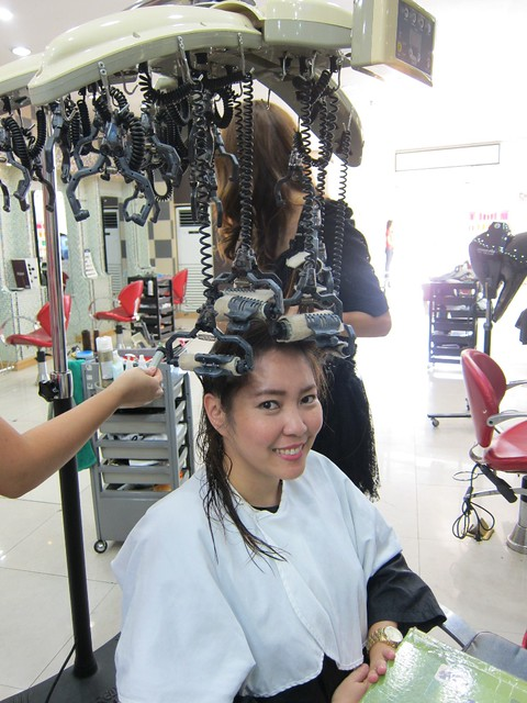 My hair getting a pre-perm treatment. With Anna (middle), the Filipino ...