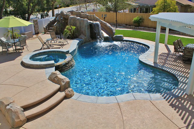 Freeform Pool Amp Spa Combo With Custom Built Slide And Outdoor Pergola Flickr Photo Sharing