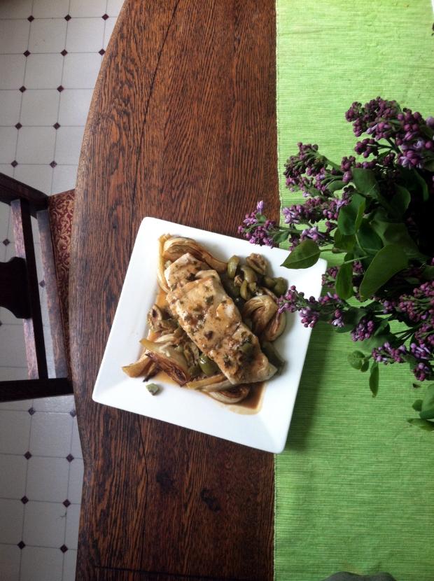 halibut and fennel shot