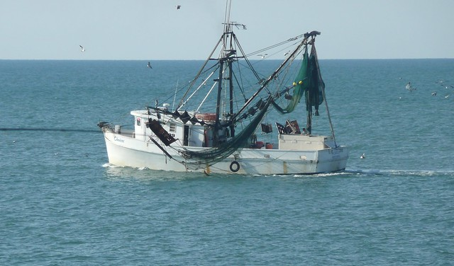 Shrimp boat topsail island nc by jeanbohio flickr for Seaview fishing pier facebook
