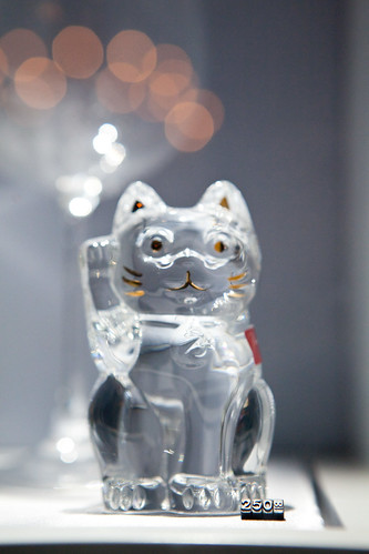 Clear Baccarat crystal Fortune cat
