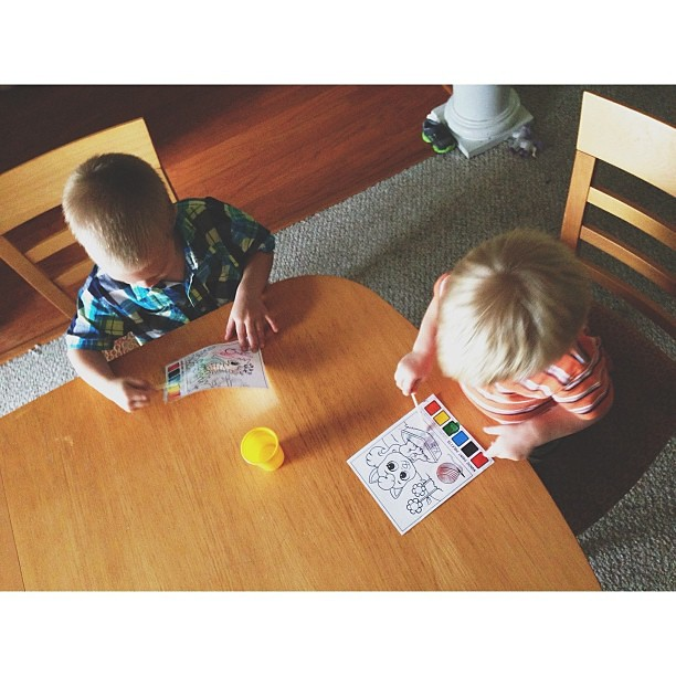 "Morning ""painting"" with my boys    #pictapgo_app"