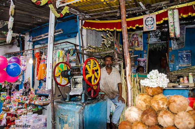 A small shope selling coconuts and sugarcane juice in the bazaar